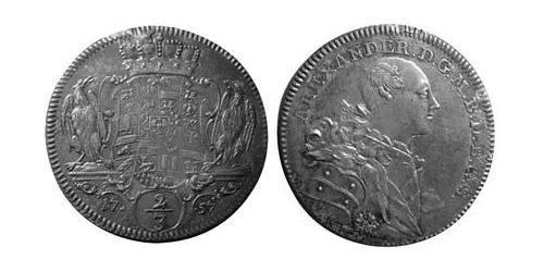2/3 Thaler Principality of Ansbach (1398–1792) Silver Charles Alexander, Margrave of Brandenburg-Ansbach (1736 – 1806)