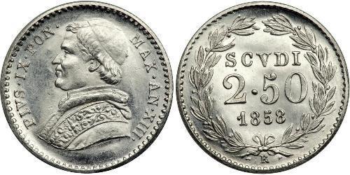 2.5 Scudo Papal States (752-1870) Platinum Pope Pius IX (1792- 1878)