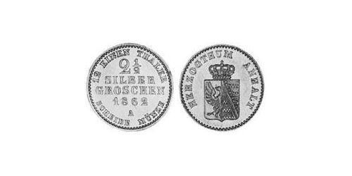 2.5 Silbergroschen Anhalt-Bernburg (1603 - 1863) Silver Alexander Karl, Duke of Anhalt-Bernburg (1805 – 1863)