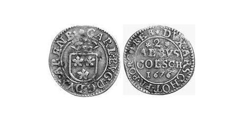 2 Albus County of Arenberg (1549 - 1810) Silver Charles Eugene, 2nd Duke of Arenberg (1633–1681)