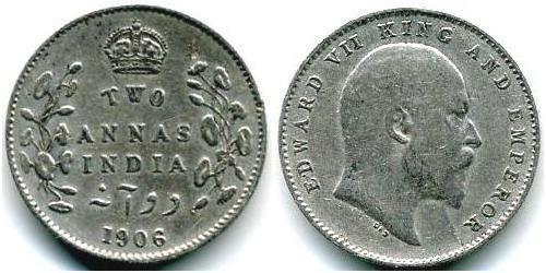 2 Anna 英属印度 (1858 - 1947) 銀 爱德华七世 (1841-1910)