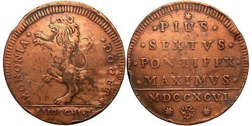 2 Baiocco Papal States (752-1870) Bronze Pope Pius VI ( 1717-1799)