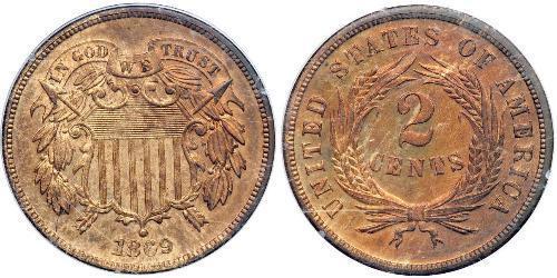 2 Cent 美利堅合眾國 (1776 - ) Tin/銅/Zinc