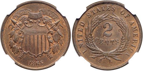2 Cent USA (1776 - ) Tin/Copper/Zinc