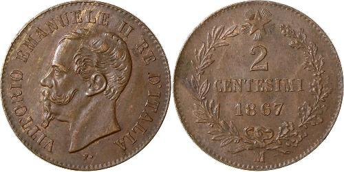 2 Centesimo Kingdom of Italy (1861-1946) Copper Victor Emmanuel II of Italy (1820 - 1878)