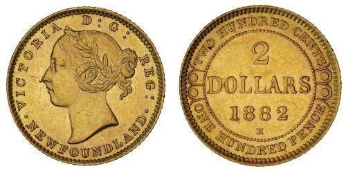 2 Dólar Canadá Oro Victoria (1819 - 1901)