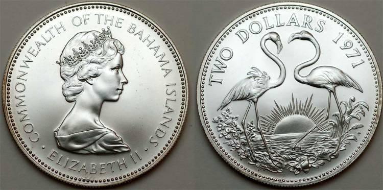 Moneda 2 D 243 Lar Bahamas Plata 1971 Isabel Ii 1926 Precio