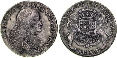 2 Ducaton Нидерланды Серебро Карл II король Испании (1661-1700)
