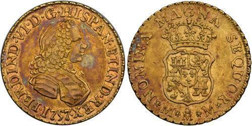 2 Escudo Spanish Mexico  / Kingdom of New Spain (1519 - 1821) Gold Ferdinand VI of Spain (1713-1759)