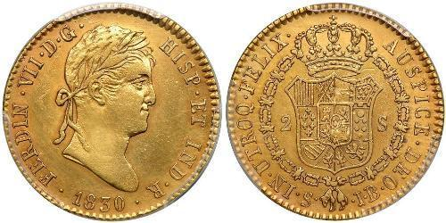 2 Escudo Spanish Mexico  / Kingdom of New Spain (1519 - 1821) Gold Ferdinand VII of Spain (1784-1833)