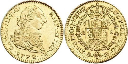 2 Escudo Perù Oro Carlo III di Spagna (1716 -1788)