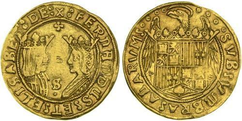 2 Excelente Spain Gold Ferdinand II of Aragon / Isabella I of Castile (1451-1504)