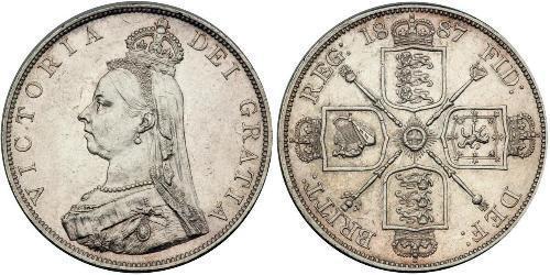 2 Florin Vereinigtes Königreich von Großbritannien und Irland (1801-1922) Silber Victoria (1819 - 1901)