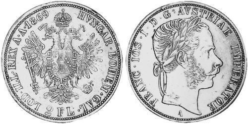 2 Florin Austria-Hungary (1867-1918) Silver Franz Joseph I (1830 - 1916)