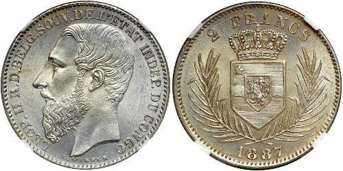 2 Franc Congo Free State (1885 - 1908) Silver Leopold II of Belgium(1835 - 1909)