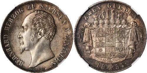 2 Gulden 萨克森-迈宁根 (1680 - 1918) 銀 Bernhard II, Duke of Saxe-Meiningen