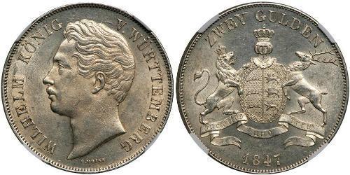 2 Gulden Reino de Wurtemberg (1806-1918) Plata Guillermo I de Wurtemberg