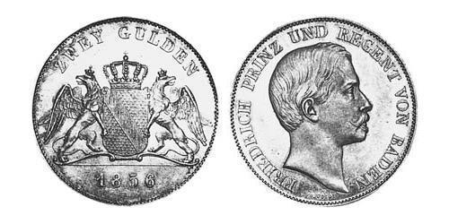 2 Gulden Grand Duchy of Baden (1806-1918) Silver Frederick I, Grand Duke of Baden (1826 - 1907)