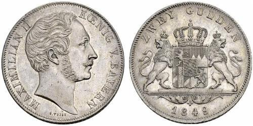 2 Gulden Kingdom of Bavaria (1806 - 1918) Silver Maximilian II of Bavaria (1811 - 1864)