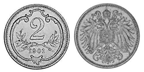 2 Heller Austria-Hungary (1867-1918) Bronze Franz Joseph I (1830 - 1916)