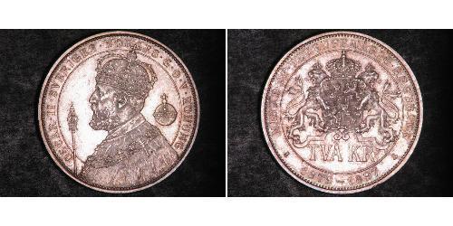 2 Krone Sweden Silver Oscar II of Sweden (1829-1907)