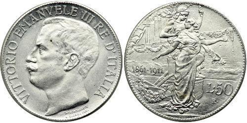 2 Lira 意大利王國 (1861-1946) 銀/Platinum 维托里奥·埃马努埃莱三世 (1869 - 1947)