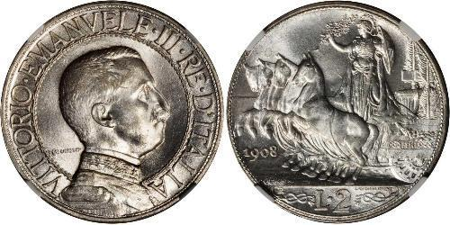2 Lira Kingdom of Italy (1861-1946) Argento Vittorio Emanuele III (1869 - 1947)