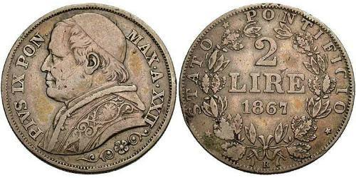 2 Lira Kirchenstaat (752-1870) Silber Pius IX (1792- 1878)