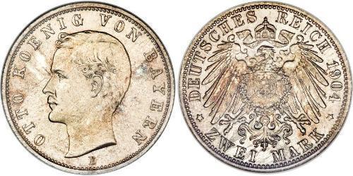 2 Mark 巴伐利亞王國 (1806 - 1918) 銀 奥托 (巴伐利亚国王)