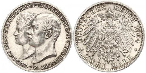 2 Mark Grand-duché de Mecklembourg-Schwerin (1352-1918) Argent Frederick Francis IV, Grand Duke of Mecklenburg (1882 - 1945)