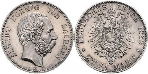 2 Mark Royaume de Saxe (1806 - 1918) Argent Albert de Saxe