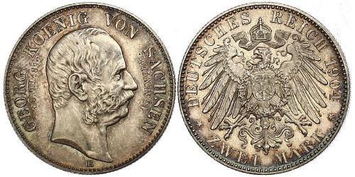 2 Mark Royaume de Saxe (1806 - 1918) Argent Georges Ier de Saxe