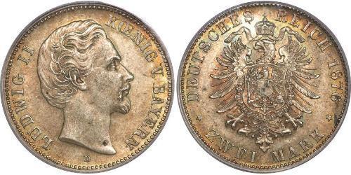 2 Mark Regno di Baviera (1806 - 1918) Argento Ludovico II di Baviera(1845 – 1886)
