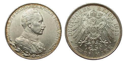 2 Mark Regno di Prussia (1701-1918) Argento Wilhelm II, German Emperor (1859-1941)