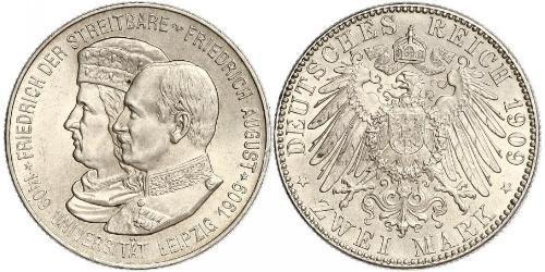 2 Mark Regno di Sassonia (1806 - 1918) Argento Federico Augusto III di Sassonia (1865-1932)