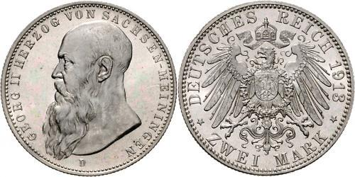 2 Mark Ducado de Sajonia-Meiningen (1680 - 1918) Plata Jorge II de Sajonia-Meiningen