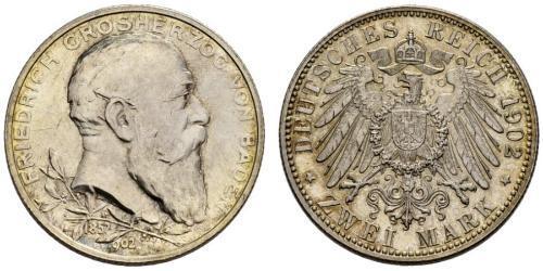 2 Mark Gran Ducado de Baden (1806-1918) Plata Federico I de Baden (1826 - 1907)