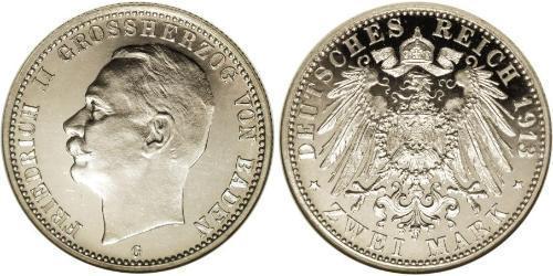2 Mark Gran Ducado de Baden (1806-1918) Plata Federico II de Baden (1857 - 1928)