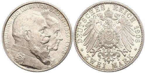 2 Mark Gran Ducado de Baden (1806-1918) Plata
