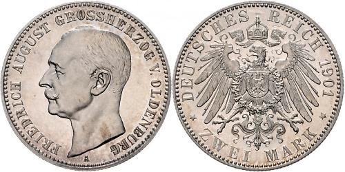 2 Mark Grand Duchy of Oldenburg (1814 - 1918) Plata Federico Augusto III de Sajonia (1865-1932)