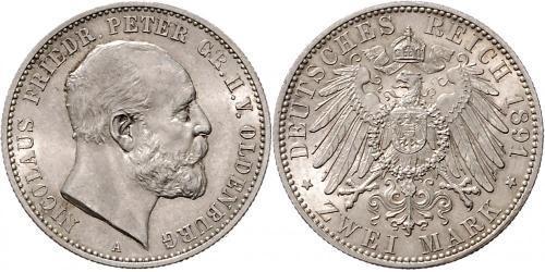 2 Mark Grand Duchy of Oldenburg (1814 - 1918) Plata Pedro II de Oldenburgo (1827 - 1900)