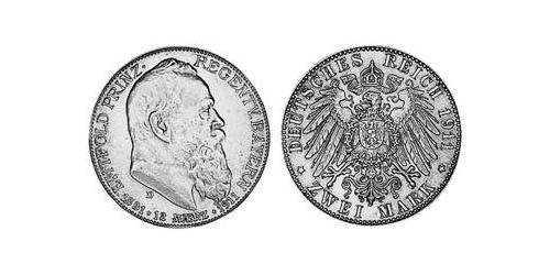 2 Mark Reino de Baviera (1806 - 1918) Plata Otón I de Baviera(1848 – 1916)