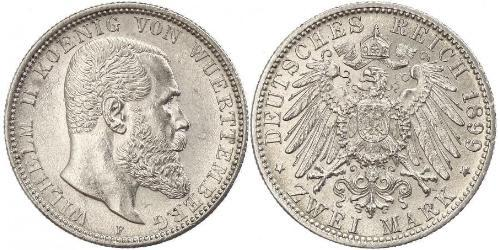2 Mark Reino de Wurtemberg (1806-1918) Plata Wilhelm II, German Emperor (1859-1941)