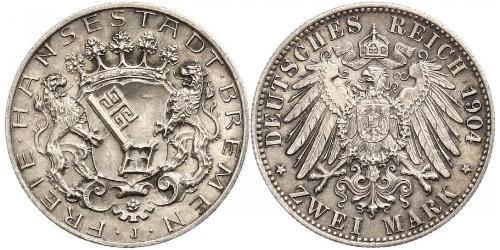 2 Mark Freie Hansestadt Bremen Silber