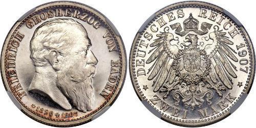 2 Mark Grand Duchy of Baden (1806-1918) Silber Friedrich I. (Baden, Großherzog) (1826 - 1907)