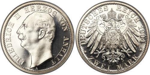 2 Mark Anhalt-Dessau (1603 -1863) / Duchy of Anhalt (1806 - 1918) Silver Friedrich II, Duke of Anhalt (1856 – 1918)