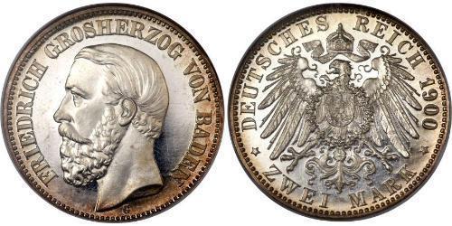 2 Mark Grand Duchy of Baden (1806-1918) Silver Frederick I, Grand Duke of Baden (1826 - 1907)