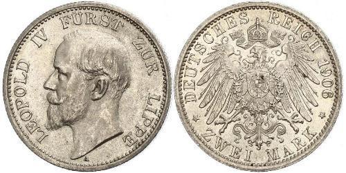2 Mark Principality of Lippe (1123 - 1918) Silver Leopold IV, Prince of Lippe