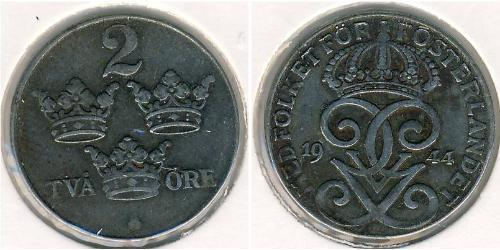 2 Ore Svezia Acciaio Gustavo V di Svezia (1858 - 1950)