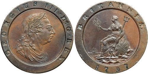 2 Penny 大不列顛王國 (1707 - 1800) 銅 喬治三世 (1738-1820)
